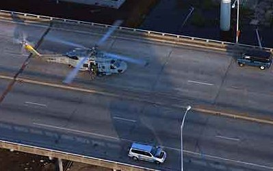 US Navy SH-60F Seahawk from HS-75 near the New Orleans Superdome