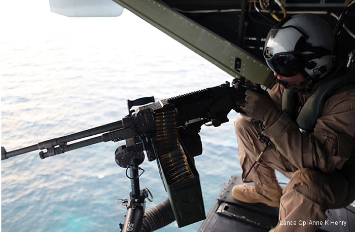 A M240D machine gun mounted on a <a href=/database/org/us_united_states_marine_corps>Marine Corps</a> aircraft