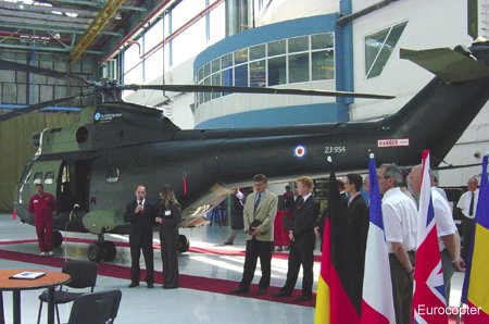 Eurocopter Romania delivered to the Royal Air Force the first SA330 Puma completely refurbished and overhauled at Brasov