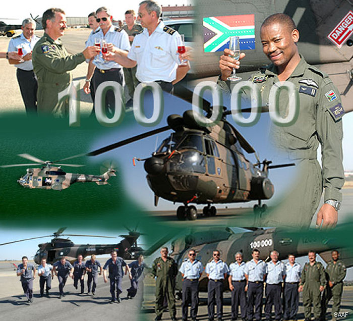 The South African Air Force celebrated 100000 flying hours with its fleet of 39 Oryx helicopters.