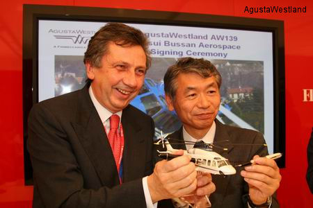 Mitsui Bussan Aerospace Sign Contract for 12 AW139 Helicopters