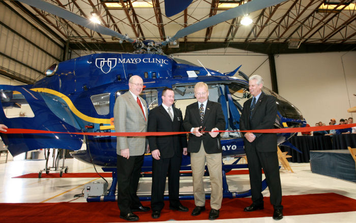 Mayo Clinic in Rochester, Minnesota received first of two EMS EC145.  first aircraft of its type to be completed for a customer outside of Air Methods.