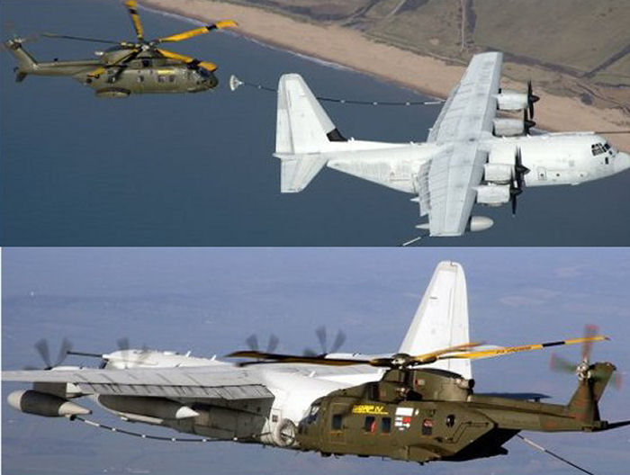 AgustaWestland / Lockheed Martin HH-71 Team successfully conducted aerial refuelling tests between a RAF Merlin HC.3 and an Italian Air Force KC-130J tanker as part of USAF CSAR-X competition