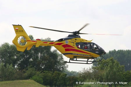 Eurocopter delivers the first of 23 EC135s ordered by Poland health ministry in June 2008
