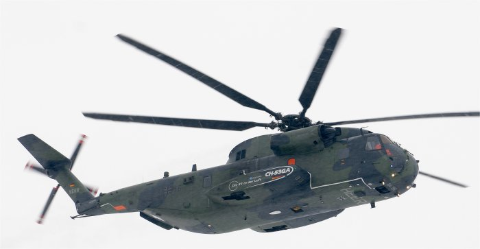 The CH-53GA helicopter successfully completed its maiden flight after being upgraded by Eurocopter Germany