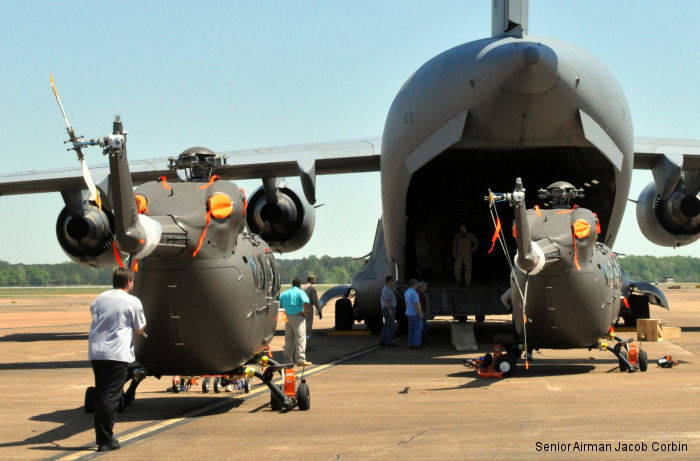 US Army UH-72A Lakotas being prepared for  transport by a C-17 Globemaster from Columbus AFB, Miss., to Germany