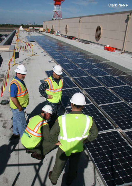 Helo hangar going solar, Part of station clean energy plan