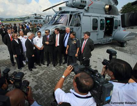 Eurocopter delivers the first two Royal Malaysian Air Force EC725s from an order for 12 medium-lift, twin-engine helicopters