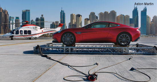 As part of Aston Martin centenary celebrations, a GT Vanquish was airlifted to the top of the Burj Al Arab hotel in Dubai