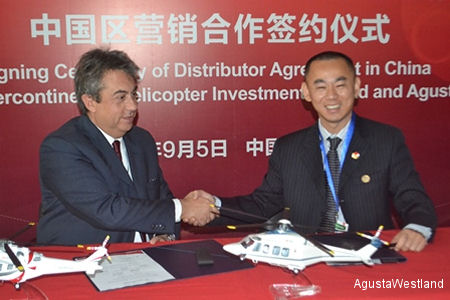 AgustaWestland signs Distributor Agreement for Civil Helicopters in China and signs for 20 Helicopters