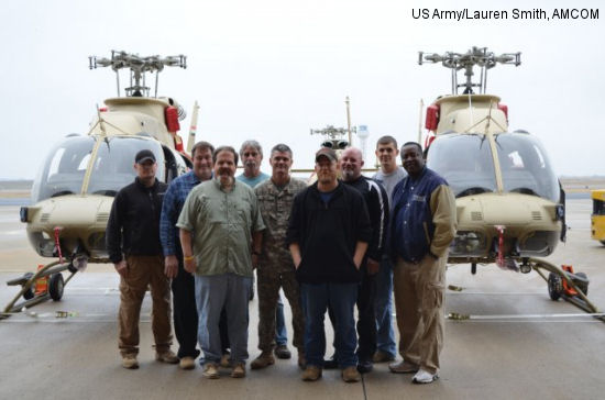 The U.S. Army Security Assistance Command with U.S. Army Aviation and Missile Command and Program Executive Office Aviation facilitated and delivered three Bell 407 Scout helicopters to Iraqi Army Aviation, Jan. 14, 2013.