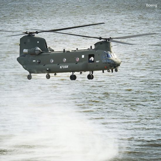First flight of the newest CH-47 Chinook heavy-lift helicopter for the Royal Air Force