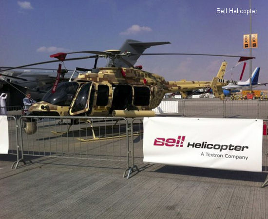Bell 407GT on static display at the 2013 Dubai airshow