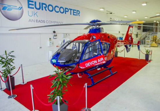 "A ""tailor-made"" Eurocopter EC135 helicopter doubles emergency medical airlift capabilities for the U.K. Devon Air Ambulance"