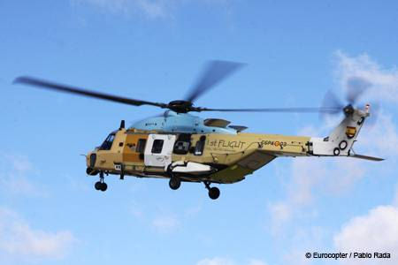 Maiden flight of the first NH90 to be assembled by Eurocopter España at its facility in Albacete