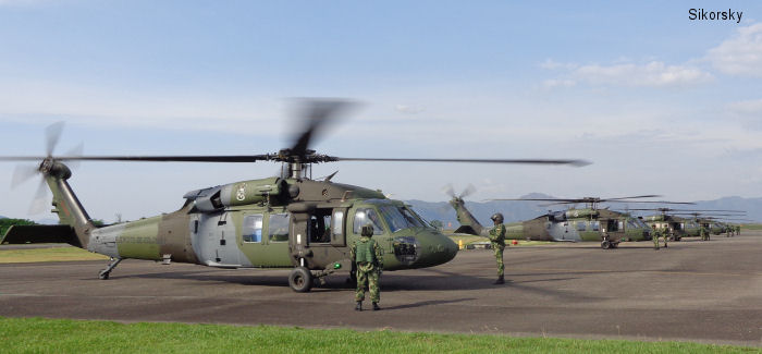 The Colombian Army flew five new Sikorsky S-70i™ BLACK HAWK helicopters more than 4,300 miles (6,920 km) from Connecticut, USA to Tolemaida, Colombia to augment the capability of the service Special Forces