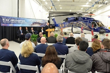 Avincis received first of 16 new Sikorsky S-92. The order, placed in December 2011, is the largest single purchase of S-92s ever made. Will go to Norwegian NHS