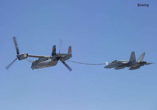A Bell/Boeing V-22 tested a prototype aerial refueling system safely with a F/A-18C Hornet