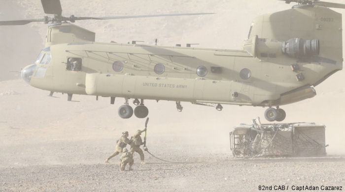 A CH-47 Chinook helicopter assigned to 2nd Aviation Assault Battalion, 82nd Combat Aviation Brigade simulates extraction of broken aircraft during a DART ( Downed Aircraft Recovery Team ) training exercise