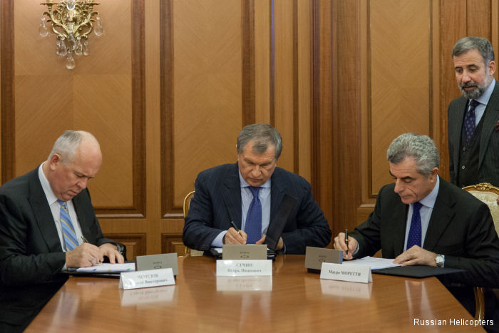 Rostec, Rosneft and Italy's Finmeccanica reach agreement on the production of AW189 helicopters in Russia