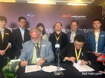 Chris Jaran, managing director for Bell Helicopter in China (front left), joins Mr. Zhu Yue, executive director and founder of Xinjiang Tianyun GA (front right), and other company representatives in signing the purchase agreement for the new Bell 407GX