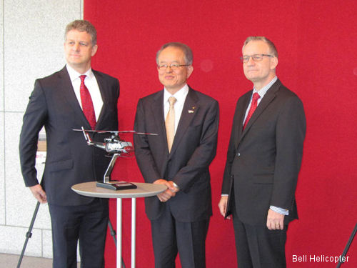 Richard Thornley, Managing Director, Bell Helicopter Co., Ltd., Nobuo Tanoue, President, Nishi Nippon Airlines, and The Honourable Ed Fast, Canada's Minister of International Trade