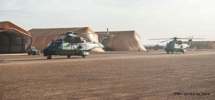 Two French Army (ALAT) NH90 Caiman from the 1st Regiment of Combat Helicopters (1 RHC) arrived in Gao, Mali for Operation Barkhane on November 3rd, 2014
