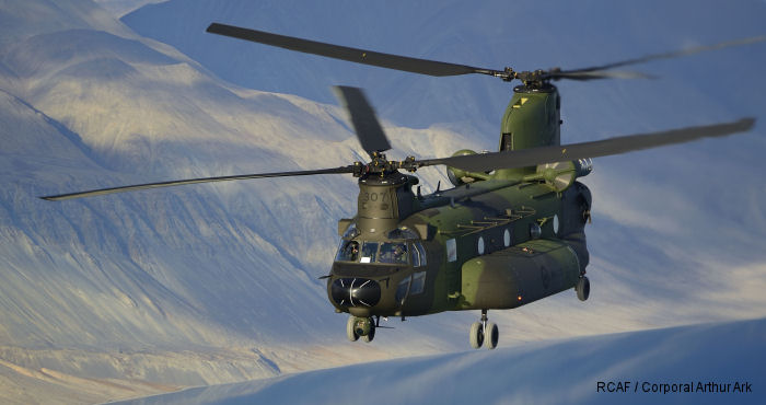 Canadian CH-147F Chinook helicopters were evaluate from CFB Petawawa  Ontario, to Alert Nunavut, and then to Iqaluit on Baffin Island Nunavut, spanned more than 8,600 kilometres.