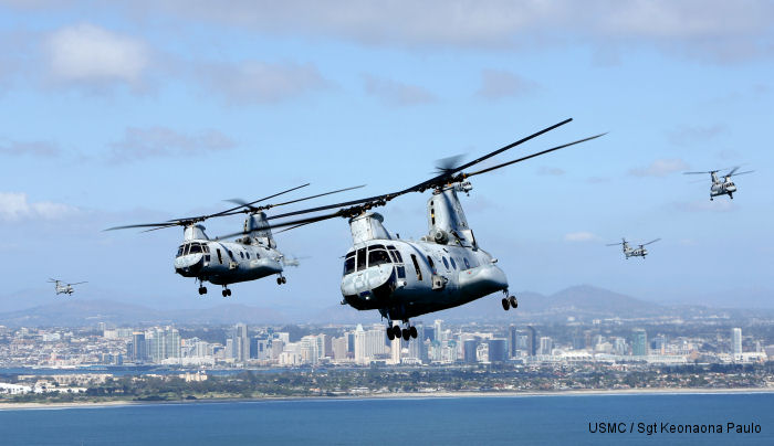 March 31, 2014 the CH-46 from HMM-364 <u>Flies the Barn</u> taking off and landing in unison and flying in mass formations over San Diego signifying the transition to the <a href=/database/modelorg/731/>MV-22B Osprey</a>