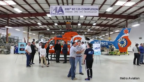 Metro Aviation completes 200th EC135
