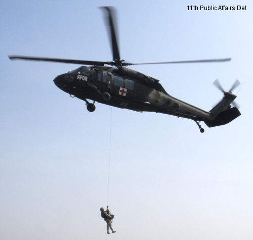 Military K-9s experience medevac training at Camp Bondsteel