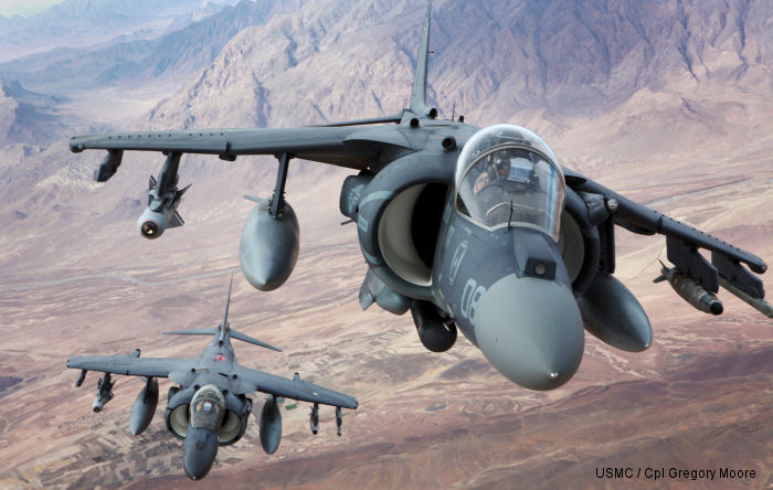 VMFA-231 AV-8B Harriers fly over southern Helmand province after conducting an aerial refuel Dec. 6, 2012