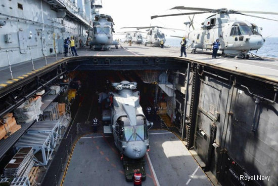 Royal Navy 820 Naval Air Squadron HM2 helicopters deployed aboard HMS Illustrious for exercise Deep Blue