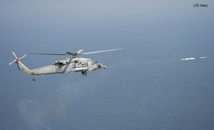 An MH-60S Seahawk helicopter fires the Advanced Precision Kill Weapons System (APKWS) from a modernized, digital rocket launcher (DRL) during a test event in fall 2013. The Direct Time and Sensitive Strike Weapons program (PMA-242) delivered DRL to Helicopter Sea Combat Squadron 15 ( <a href=/database/sqd/1270/>HSC-15</a> ) in March for pre-deployment training in preparation for deployment this summer.