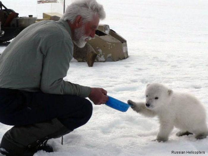The crew of a Russian Mi-26 military helicopter saved a baby polar bear from starving to death in the Arctic after the young bear became separated from its mother.