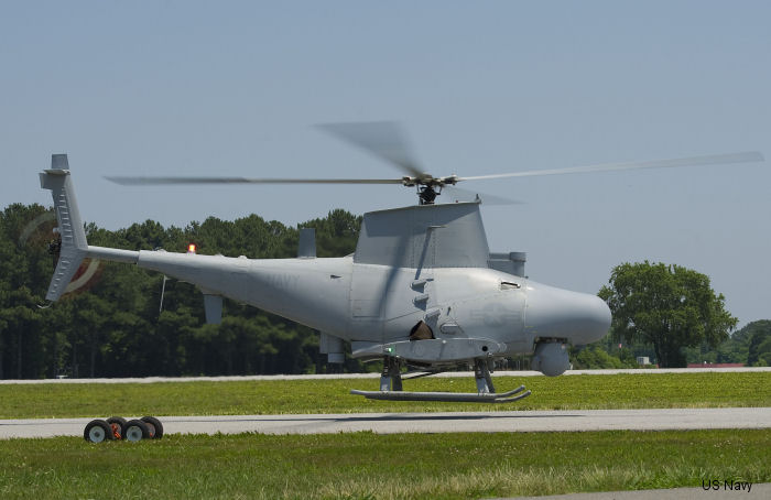 The MQ-8 Fire Scout prepares to land after its first flight with a new maritime surface search radar June 16 at Webster Field Annex, Md. This upgrade will increase the situational awareness and threat warning in a high-traffic littoral environment. Fire Scout s deployment with the new radar is planned for 2015.
