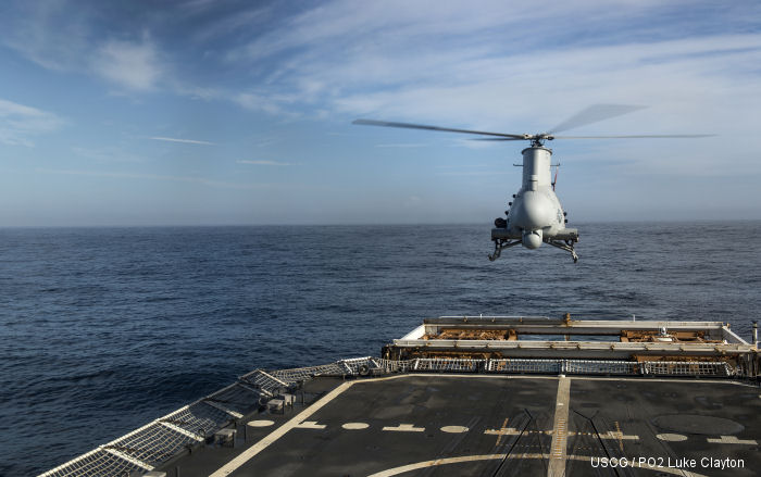 Unmanned Helicopter MQ-8B Fire Scout Flies off Coast Guard Ship for First Time