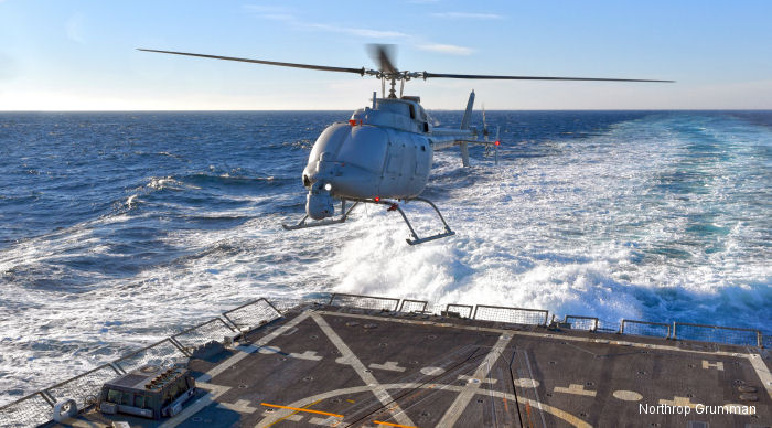 After more than a year of land-based testing at Point Mugu, the new unmanned helicopter MQ-8C Fire Scout flew for the first time off an US Navy guided-missile destroyer.