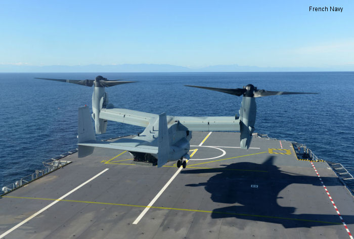 MV-22 Osprey lands on French warship for first time