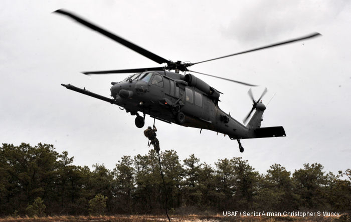 HH-60G Pavhawks are assigned  101st Rescue Squadron of the same Rescue Wing.