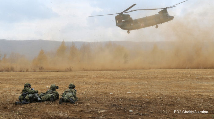 US Army 3rd Battalion, 25th Combat Aviation Regiment flying side-by-side with their Japan Ground Self-Defense Force counterparts at  Orient Shield 14 exercise, Oct.27 thru Nov.7