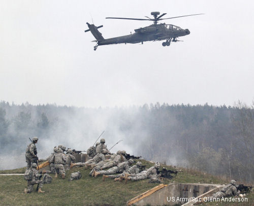 U.S. Army Europe aviation, infantry brigades conduct live-fire exercise together to prepare aviators for deployment