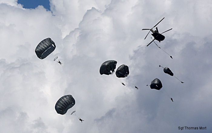 US Army Europe 12th Combat Aviation Brigade sent two of the new CH-47F MYII Chinook helicopters to support 280 paratroopers of the 173rd Airborne Brigade at the Grafenwoehr Training Area in Germany