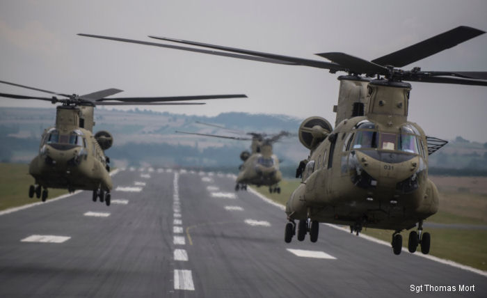 The first 5 of 9 CH-47F MYII Chinook helicopters arrived at Katterbach Army Airfield for the U.S. Army 12th Combat Aviation Brigade. The Multiyear II is the latest variant of the CH-47F