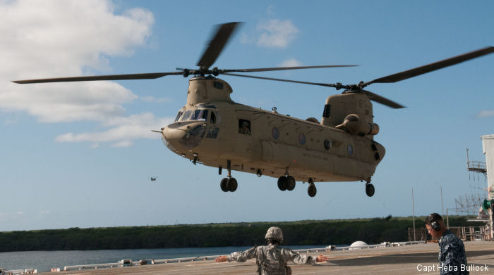 Two CH-47 Chinook helicopters from the 25th Combat Aviation Brigade practiced a Non-Combatant Evacuation in Hawaii picking up 60 refugees from Dillingham and evacuated them to ship at Pearl Harbor