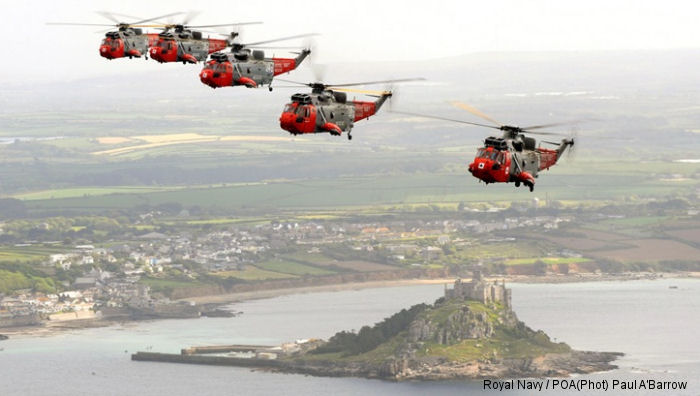 Royal Navy 771 Naval Air Squadron (771 NAS) celebrates their 76th birthday with a Sea King formation around the west coast of Cornwall. Will hand over its SAR duties at the end of the year