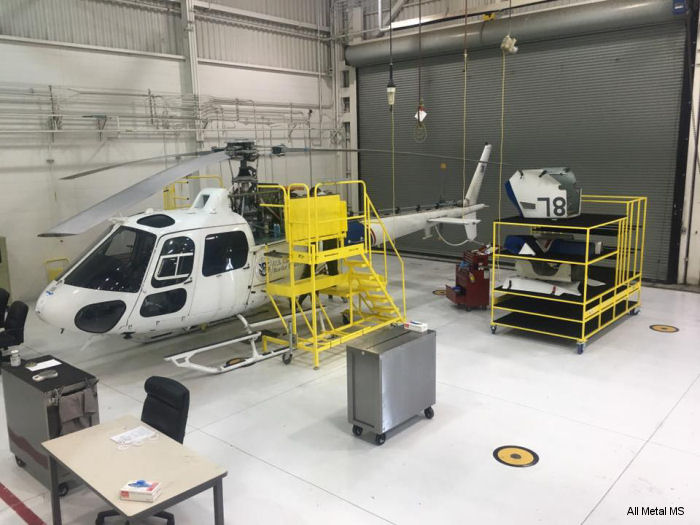 "All Metal MS delivers custom AS350 ""Safety First"" maintenance stands, cowling racks and blade racks to the United States Border Protection in San Diego, California"