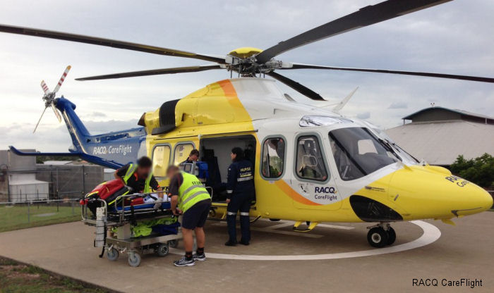 Australia RACQ CareFlight Rescue's Brisbane-based crew completed its first mission on board the new AgustaWestland AW139 helicopter