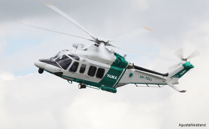 Australia Toll Group signs for 8 AW139 helicopters to perform EMS operations in New South Wales with delivered beginning in 2016.