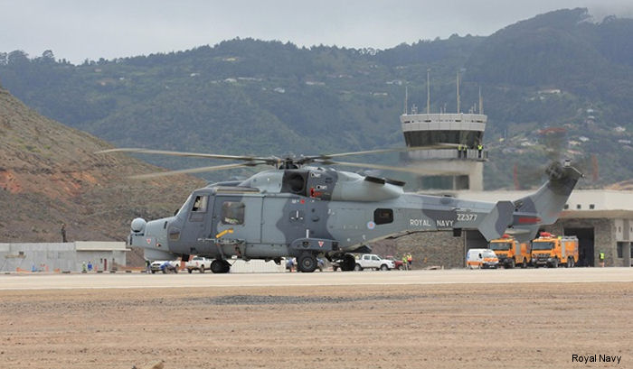 Royal Navy HMS Lancaster's AW159 Wildcat helicopter became the first rotary-wing aircraft to land at the island of St Helena's new airport during the frigate South Atlantic Patrol deployment